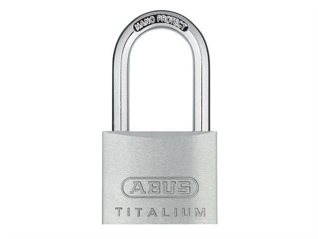 64TI/40HB40 Titalium Padlock 40mm x 40mm Long Shackle Keyed KA6411