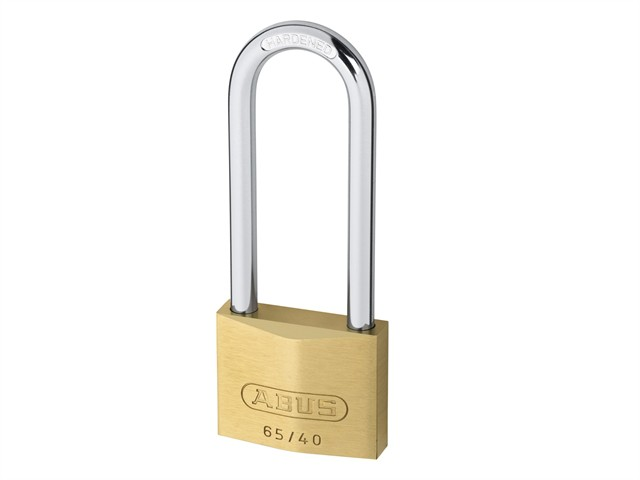 65/40mm Brass Padlock 63mm Long Shackle