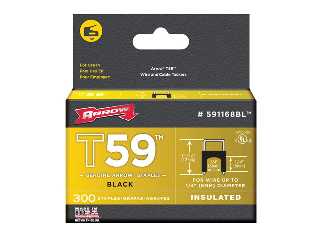 T59 Insulated Staples Black 6 x 6mm Box 300