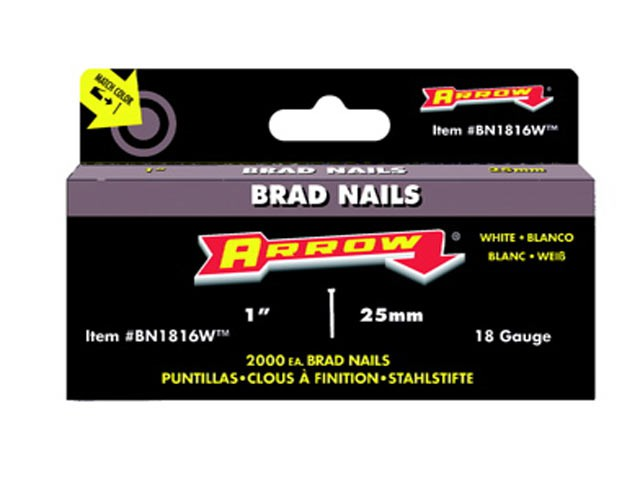 BN1816 Brad Nails 25mm White Head Pack 2000