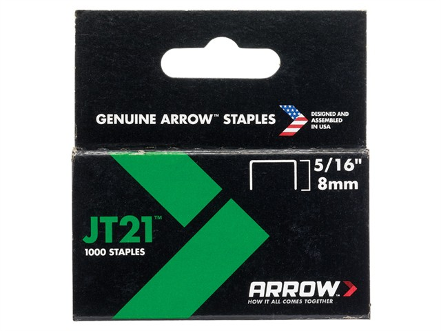JT21 T27 Staples 8mm ( 5/16in) Box 1000
