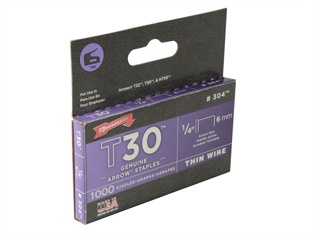 T30 Staples 6mm (1/4in) Box 1000