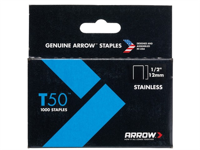 T50 Staples Stainless Steel 508SS 12mm (1/2in) Box 1000