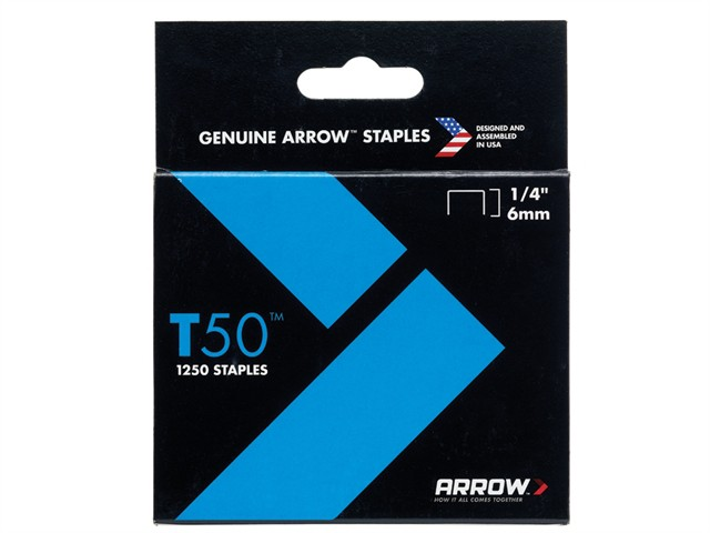 T50 Staples 6mm (1/4in) Box 1250