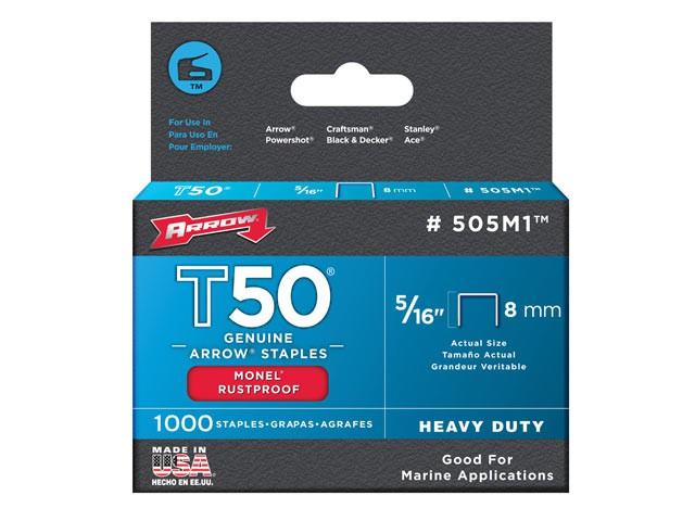 T50M 505m Monel Staples 8mm ( 5/16in) Box 1000
