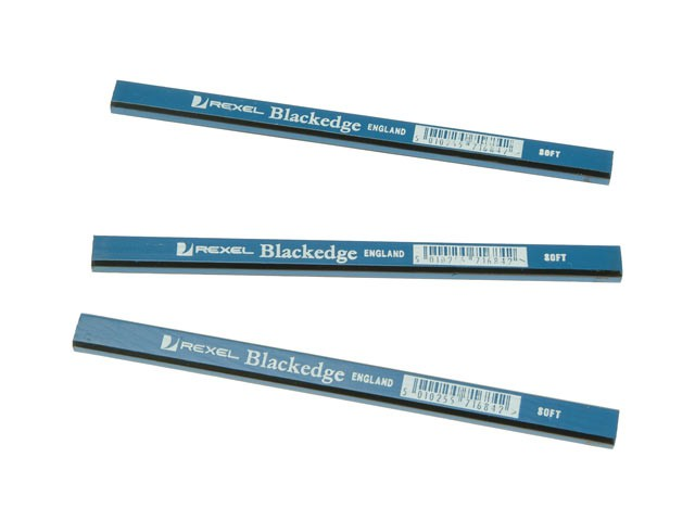 Carpenters Pencils - Blue / Soft Card of 12