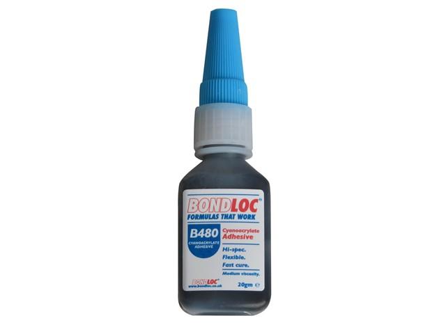 B480 Black Rubber Toughened Cyanoacrylate 20g