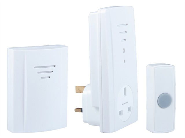 B323 Portable Wireless Plug-Through Door Chime Kit 50m