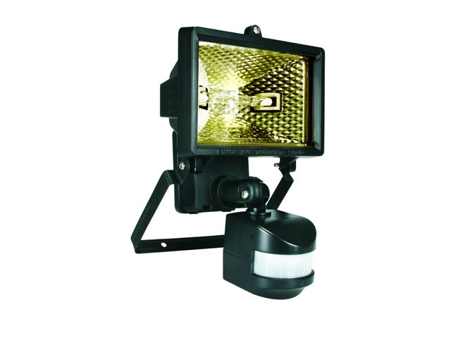ES120 Halogen Floodlight with PIR Black 120 Watt