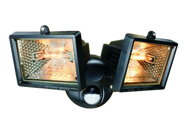 ES120/2 Twin Halogen Floodlight With PIR Black 150 Watt