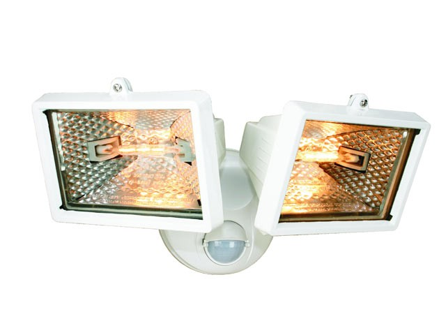 ES120/2W Twin Halogen Floodlight With PIR White 150 Watt
