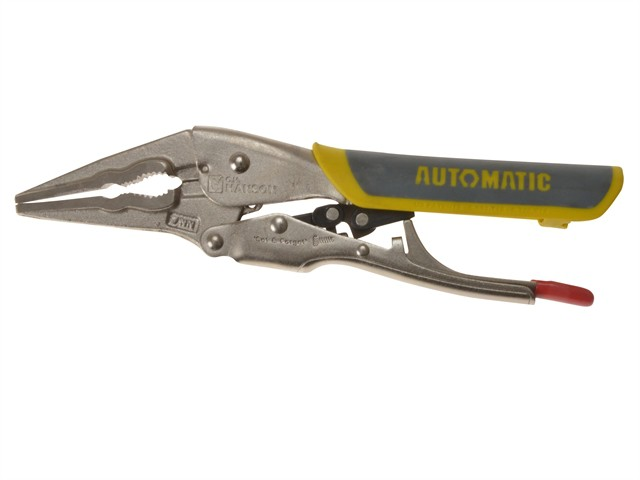 Automatic Locking Needle Nose Pliers Soft Grip Handle 180mm (7in)