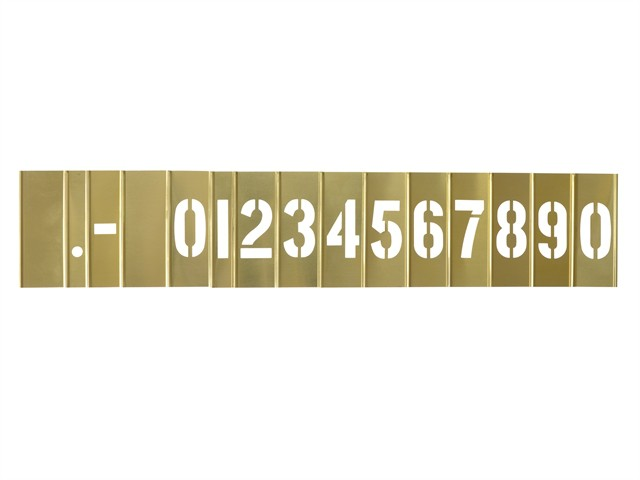 2in Brass Stencil Set Numbers 15-Piece Set