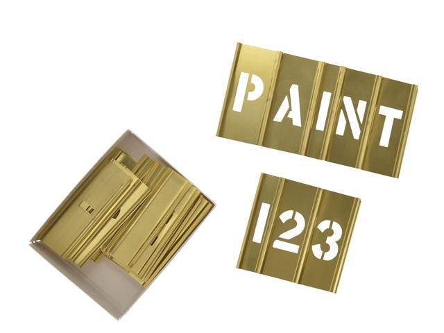 1in Brass Stencils Letters/Numbers 45-Piece Set