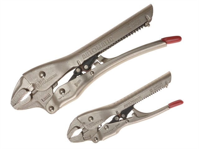 Automatic Locking Pliers Curved Jaw Set of 2 150mm & 250mm