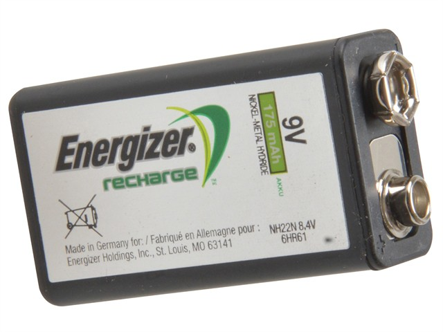 9 Volt Rechargeable Power Plus Battery R9V 175 mAh Single