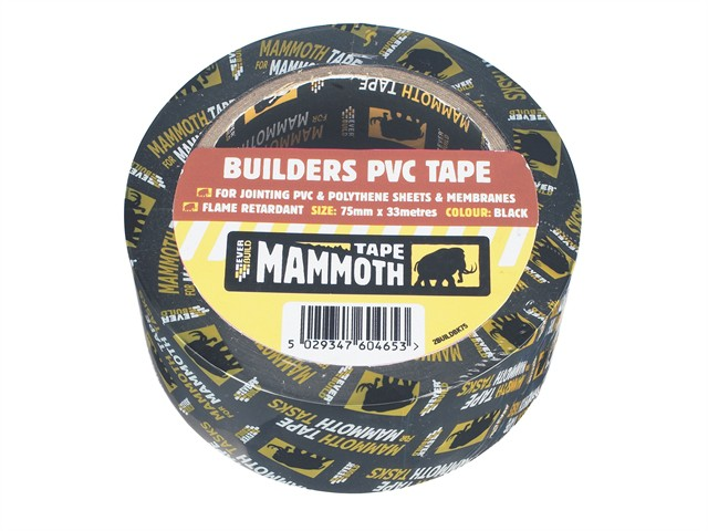 Builder's PVC Tape Black 75mm x 33m