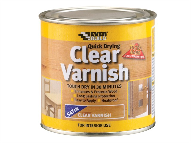 Quick Dry Wood Varnish Satin Clear 250ml