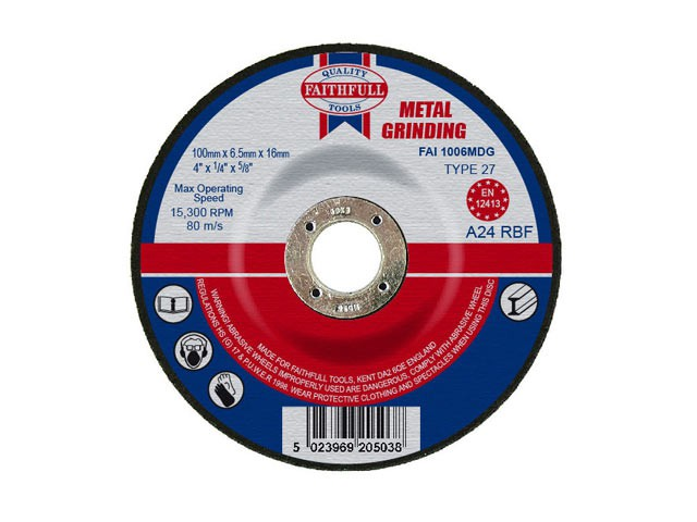 Depressed Centre Metal Grinding Disc 100 x 6.5 x 16mm