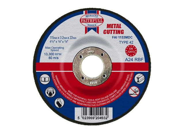 Depressed Centre Metal Cut Off Disc 115 x 3.2 x 22mm