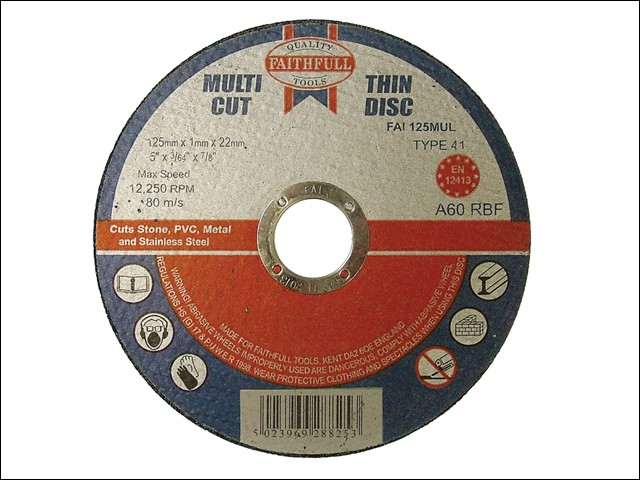 Multi-Cut Cutting Discs 125 x 1.0 x 22mm (Pack of 10)