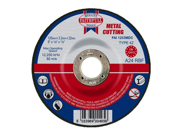Depressed Centre Metal Cut Off Disc 125 x 3.2 x 22mm