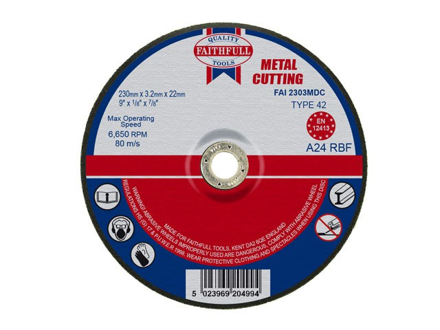Depressed Centre Metal Cut Off Disc 230 x 3.2 x 22mm