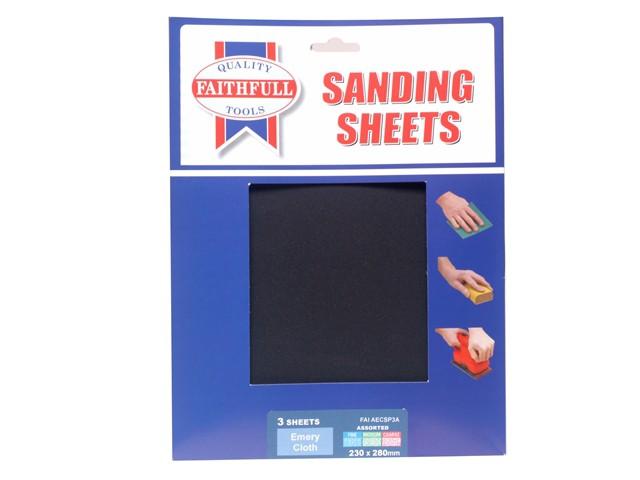 Alox Cloth Sheets 280 x 230mm Assorted Fine, Medium & Coarse (3)