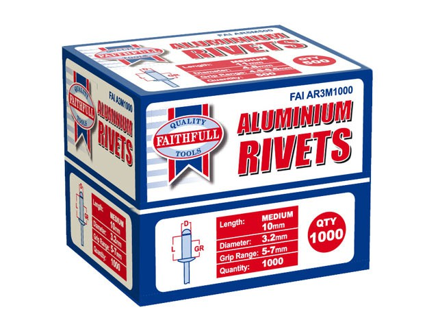Aluminium Rivets 3.2mm x 10mm Medium Bulk Pack of 1000