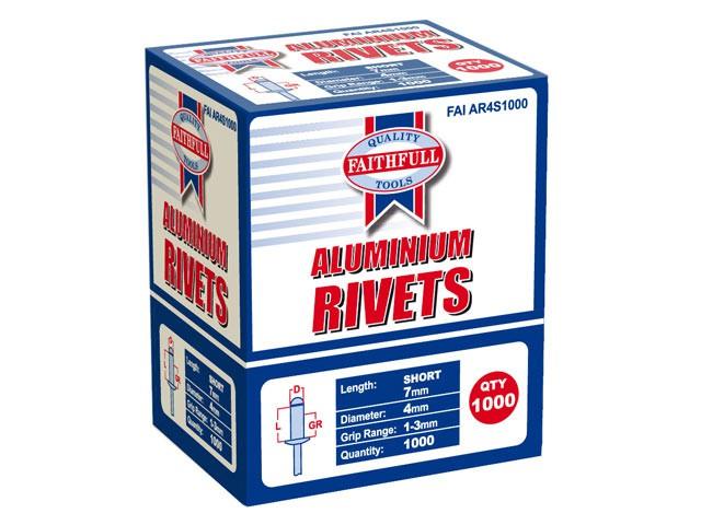 Aluminium Rivets 4mm x 7mmShort Bulk Pack of 1000