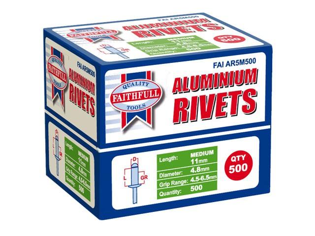 Aluminium Rivets 4.8mm x 11mm Medium Bulk Pack of 500