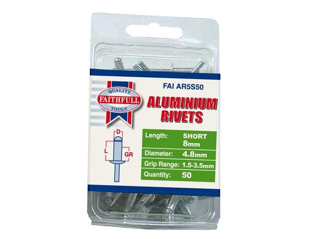 Aluminium Rivets 4.8mm x 8mm Short Pre-Pack of 50