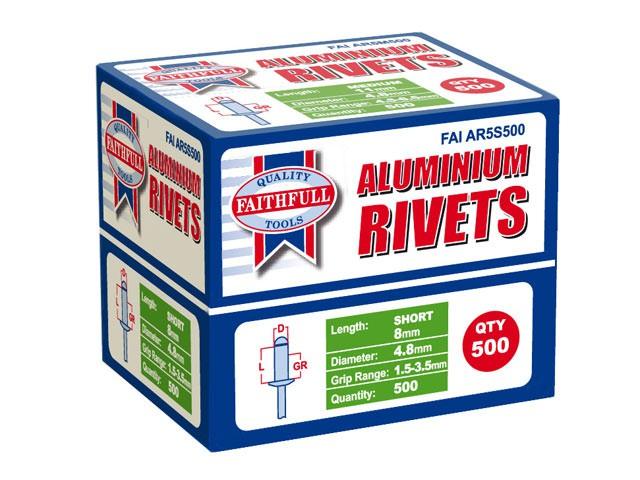 Aluminium Rivets 4.8mm x 8mm Short Bulk Pack of 500
