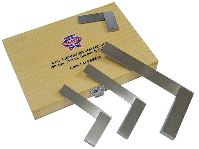 Engineers Squares Set, 4 Piece (50, 75, 100, 150mm)