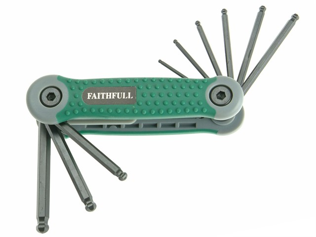 Ball End Hexagon Key Folding Set of 9 Imperial (5/64 - 1/4in)