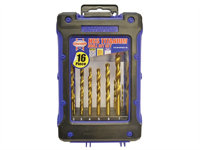 Titanium Drill Bit Set 16 Piece 1-8mm