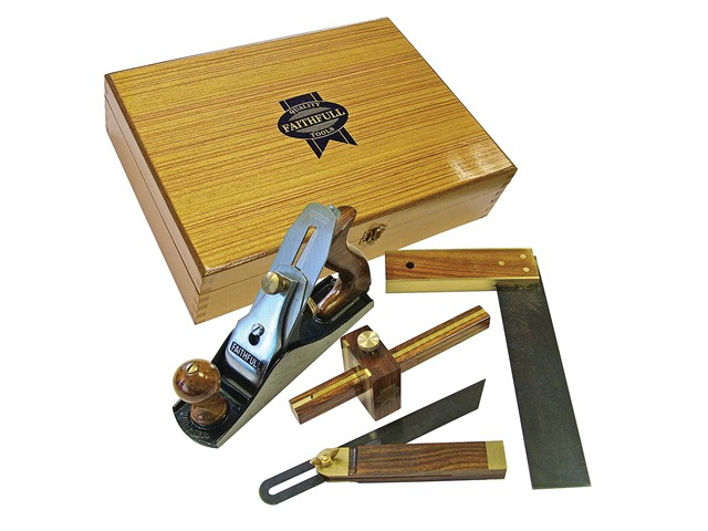 Plane & Woodworking Set of 4 in Wooden Box