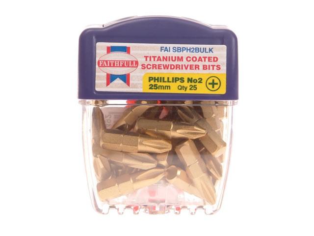 Phillips 2 Titanium Coated Screwdriver Bits x 25mm Pack of 25