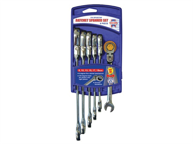 Ratchet Combination Spanner Flex Head Set 6 Piece Metric