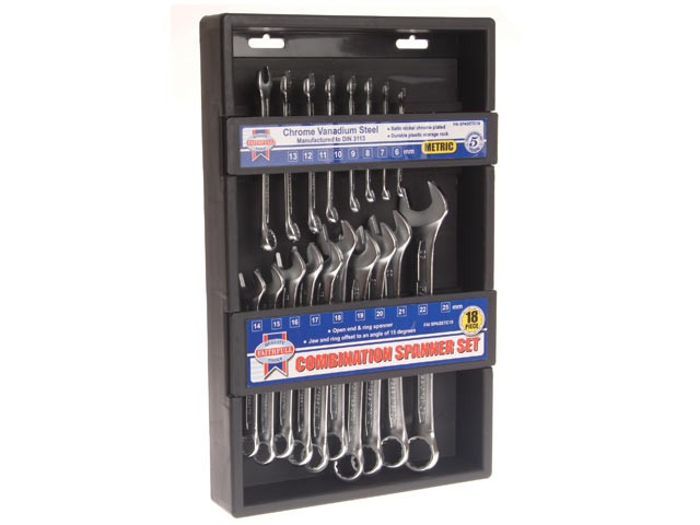 Metric Chrome Vanadium Combination Spanner Set 18 Piece