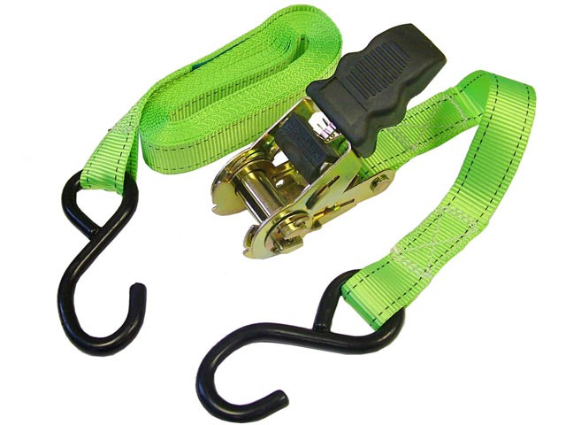 Ratchet Tie-Downs S Hook 5m x 25mm Breaking Strain 600kg/daN 2 Piece
