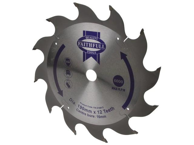 Circular Saw Blade 190 x 16mm x 12T Fast Rip