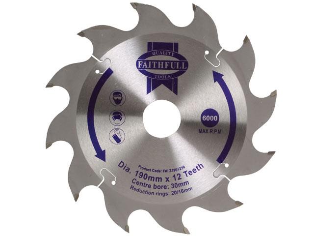 Circular Saw Blade 190 x 16/20/30mm x 12T Fast Rip