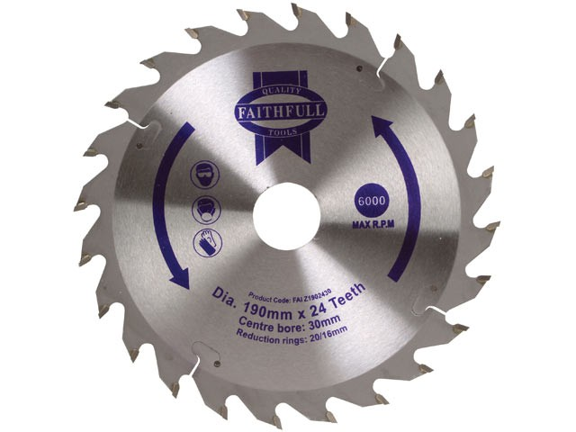 Circular Saw Blade 190 x 16/20/30mm x 24T Fast Rip