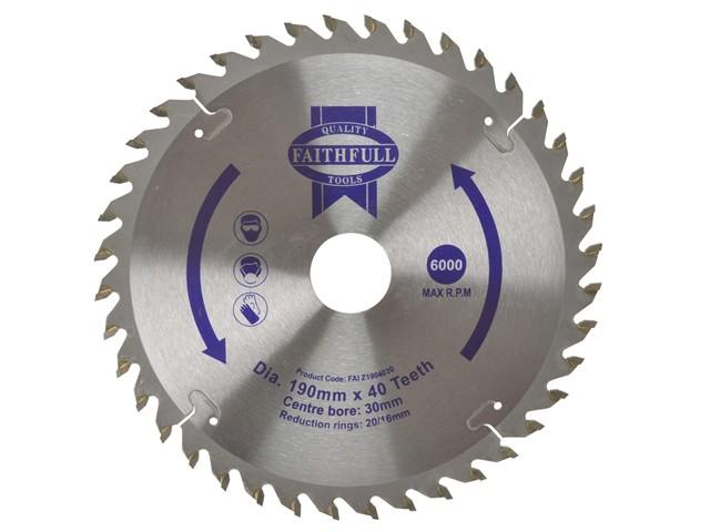 Circular Saw Blade 190 x 16/20/30mm x 40T Fine Cross Cut