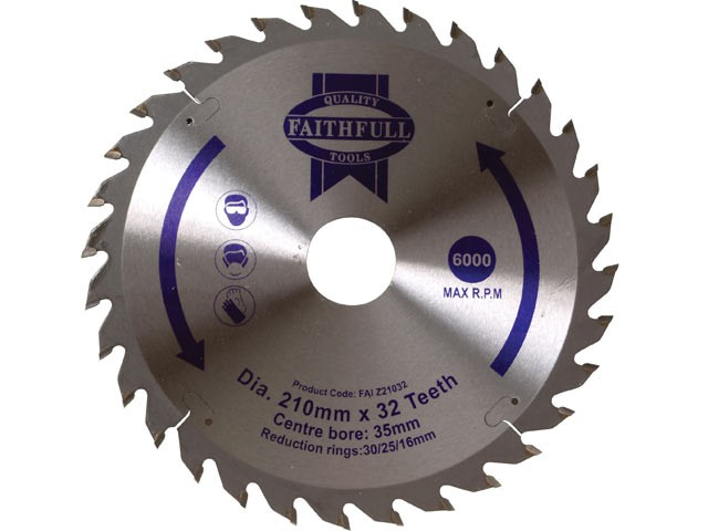 Circular Saw Blade 210 x 16/25/30/35 x 32T Fine Finish