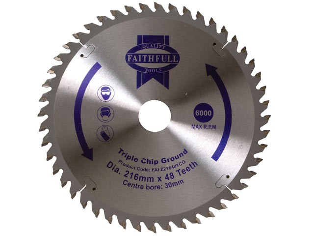 TCT Circular Saw Blade Triple Chip Ground 216 x 30mm x 48T NEG