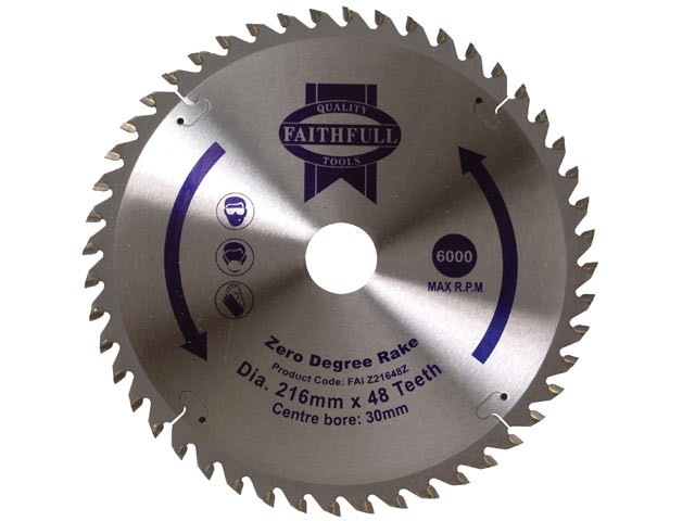 Circular Saw Blade 216 x 30mm x 48T Zero Degree