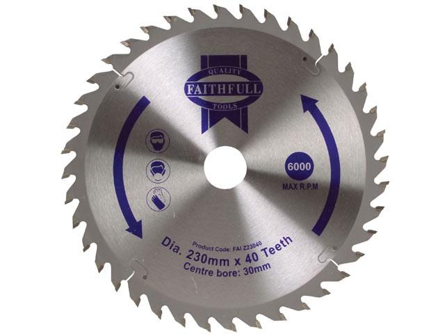 Circular Saw Blade TCT 230 x 30mm x 40T Fine Cross Cut