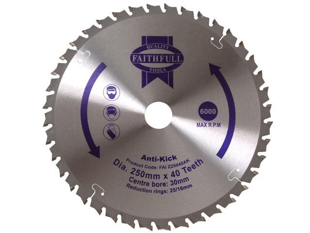 Circular Saw Blade Anti Kick 250 x 30mm x 40T